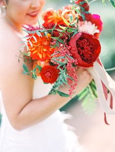 Red and Orange Bouquet | photography by http://www.melissajill.com/