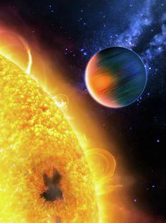 Space Image Extrasolar Planet Yellow Orange Blue Print by Matthias Hauser