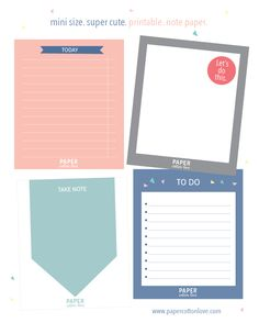 Printable note paper for your planner – free download