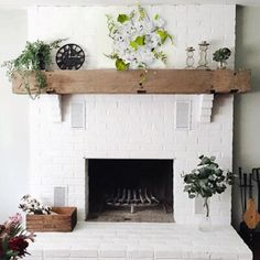 white fireplace brick / white fireplace ` white fireplace brick ` white fireplace decor ` white fireplace mantels ` white fireplace with wood mantle ` white fireplace ideas ` white fireplace surround ` white fireplace stone House Design, Home Living Room, Home, White Brick Fireplace, Fireplace Design, New Homes, Farmhouse Fireplace, House Interior, Home And Living
