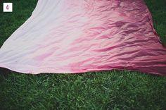 DIY: OMBRE (pink) TABLECLOTH // via green wedding shoes