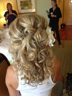 Curls half up half down. Very pretty! This would probably be more of my length.
