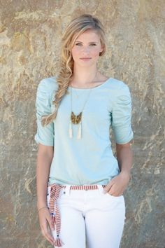 Synergy Organic Clothing | Stella Top in Dusk Blue. Ruched top.