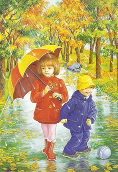 illustrations divers enfants 3 - Page 26 Umbrella Painting, Umbrella Art, Under My Umbrella, Four Seasons Art, Rain Art, Creation Photo, Autumn Scenes, Love Rain, I Love Winter