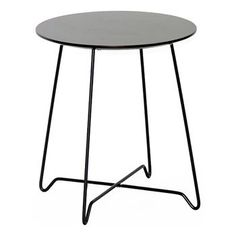 Wholesale Interiors - Dyer Round End Table - Wenge Wood Top, Black Steel Wire Legs
