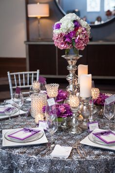 Love purple and gray tablescapes with warm lighting! | PWG Nashville Wedding Shows | Nashville Photography Group | #NASHPWGSHOW #NashvilleWeddings #Tablescapes