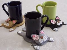 Eu Amo Artesanato: Descanso de copos e tapete de canecas com moldes