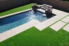 Fake grass pool modern pavers
