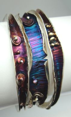 Wave Bangles, Robyn Cornelius, Little Rock Jewellery Studio, Sterling Silver, Liver of Sulfur