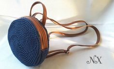 Small Round Bag Backpack with synthetic leather for straps . It is made with the crochet technique with macrame durable synthetic yarn. Perfect elegant gift for her. Round Bag, Lining Fabric, Backpack Bags, Bag Making, Shopping Bag, Gifts For Her, Handmade Items, Weaving, Pouch
