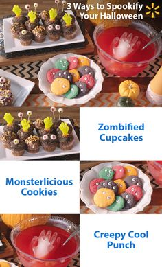 Scare up some yummy Halloween fun! Make your Halloween party scarily memorable with these fearfully easy treat ideas: Add a zombie hand to a standard cupcake and take it from tasty to frightfully deli (Halloween Party Mix) Halloween Snacks, Halloween Boo, Holidays Halloween, Happy Halloween, Holiday Treats, Holiday Fun, Holiday Recipes, Holiday Parties, Holiday Foods