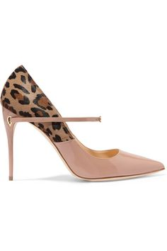 Heel measures approximately 105mm/ 4 inches Leopard-print calf hair, beige patent-leather Slip on Made in ItalySmall to size. See Size & Fit notes.
