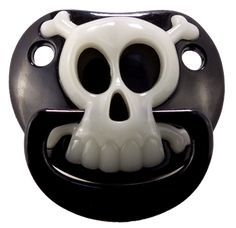 """A My Baby Rocks best seller! This pacifier is a MUST for every punk rock baby. This black pacifier features a glow in the dark skull & crossbones pirate design. If """"punk"""" isn't your thing for day-to-d Source by Clothing Baby Design, Baby Kalender, Goth Baby Clothes, Funny Pacifiers, Punk Rock Baby, Gothic Baby, Baby Bats, Glow, Cool Baby Stuff"""