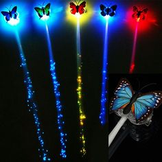 EU Warehouse | Luce farfalla ottica lampeggiante fino estensione dei capelli clip della fibra b