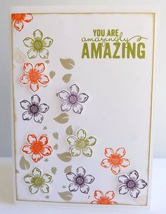 Hand stamped blank card, floral card, with You are Amazingly Amazing sentiment, Stampin Up! card by MaudieMaudie on Etsy