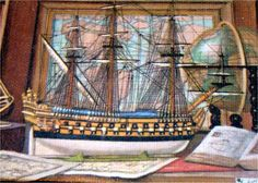 Ship Painting / Print on Canvas and Mat-Board / Vintage Art. $10.00, via Etsy.