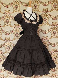 Black Puff Short Sleeves Bow Lace Classic Lolita Dress