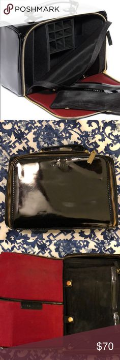 Bobbi Brown Black Patent Luxe Travel Kit Bobbi Brown Black Patent Luxe Travel Kit. Great condition with slight residue on the red silk interior. Some light stretches on the patent but overall in great shape. This travel case contains every compartment you could need to keep organized while you're away or everyday! Bobbi Brown Makeup Brushes & Tools