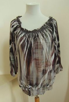 Chico's Sublimation Embellished Tunic Top 1 Peasant Scoop Neck 3/4 Sleeve Blouse #Chicos #Tunic #Casual