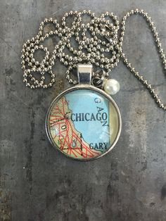 Chicago map necklace- I love this city!! $21 #kraftykash