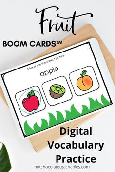 Practice and learn fruit vocabulary with 60 different cards. This set is differentiated for different skill levels (20 cards per level)so you can use them with different classes or assign each level as students become more familiar with the vocabulary. NO PREP! No printing or laminating. They're PAPERLESS and Ready to Use!