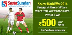 #Predict the winner between #Portugal and #Ghana on 26th June in #SoccerWorlWar 2014   http://www.foreseegame.com/user/GamePlay.aspx?GameID=tc%2f320gpcoibY5mKBCy8Sg%3d%3d