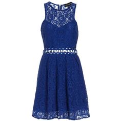 STYLESTALKER Bloc Party Dress ($81) ❤ liked on Polyvore featuring dresses, blue, floral fit and flare dress, front lace corset, sleeveless dress, blue floral dress and floral cocktail dress