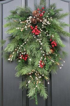 Deck the Halls, Deck the Walls, Teardrop Wreath, Pinecones and Berries, Christmas Swag, Swag for Christmas, Pine Wreaths, Christmas Wreaths #ad