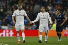 Mateo Kovacic congratulates his striker after he had doubled the Real Madrid lead, as they dominated from start to finish