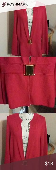Jones New York Signature Red sweater with buckled waist. 70% rayon 30% nylon. Jones New York Sweaters Cardigans