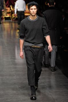 That ribbed grey top bottom, worn outside the belt, again... Dolce & Gabbana, Milan 2012...