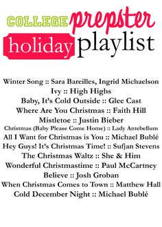 College Prepster Holiday Playlist