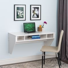 "42"" Modern Floating Wall Mounted Desk in White"