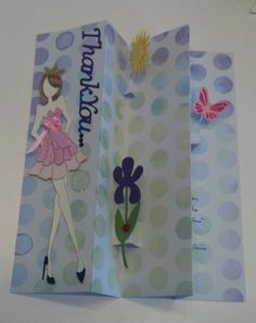 I love this card....it is a cool fold with little pop-ups and I paper pieced the dress on the Julie Nutting doll :)  I wish I could show it both opened and closed.
