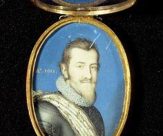 Christian 4. portrætteret i 1611. Billedet er en miniature, som tilskrives Jacob van Doordt; kapslen er udført af Paul Kurtz, måske i 1656.