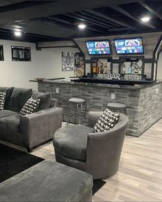 Basement Bar Plans, Cozy Basement, Basement Living Rooms, Game Room Basement, Basement Bar Designs, Modern Basement, Home Bar Designs, Basement Makeover, Basement Remodeling