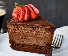 Quadruple Chocolate Cheesecake Mousse Cake- flourless cake/ chocolate cheesecake/ chocolate mousse then ganache on top Chocolate Mouse Cheesecake, Chocolate Desserts, Chocolate Cake, Chocolate Delight, Mousse Cake, Choc Mousse, Cheesecake Recipes, Just Desserts, Chocolates