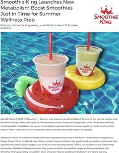 💰 Bring a pool float for a free smoothie Tuesday at Smoothie King Smoothie King coupons and promo codes from The Coupons App. Calendar Reminder, Couponing 101, Smoothie King, Cosmetic Treatments, Local Deals, March 9th, Restaurant Offers, Shopping Coupons, Free News
