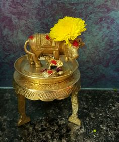 Kamadhenu Ethnic Home Decor, Indian Home Decor, Silver Pooja Items, Elephant Home Decor, Home Temple, Pooja Room Design, Indian Interiors, Puja Room, Indian Homes