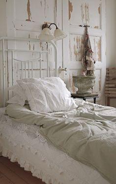 Repurposed Old Doors & Painted Iron Bed....