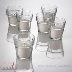 """clear flowerpot votives 12/$7.99 This style harder to """"moss"""" - maybe just around the bottom or just around the top.  Ideas?"""