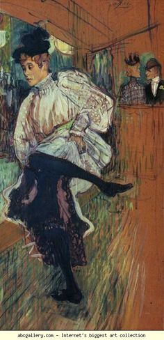 Henri de Toulouse-Lautrec. Jane Avril Dancing. 1892. Oil on cardboard. 85.5 x 45 cm. Musée d'Orsay, Paris, France