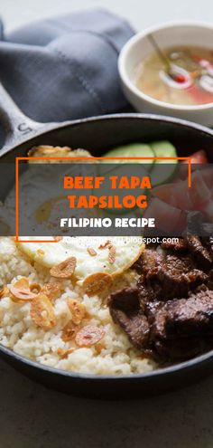 Tapsilog is a popular breakfast dish consisting of Filipino beef tapa, fried egg, and garlic fried rice. #Filipino #Recipe #Tapa Healthy Appetizers, Healthy Dinner Recipes, Great Recipes, Favorite Recipes, Filipino Recipes, Asian Recipes, Breakfast Dishes, Breakfast Recipes, Beef Tapa