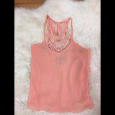 Selling this Forever 21 Salmon pink sheer top *like new* in my Poshmark closet! My username is: jadeline. #shopmycloset #poshmark #fashion #shopping #style #forsale #Forever 21 #Tops