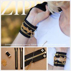 iLoveToCreate Blog: DIY Zipper Bracelet With Chains