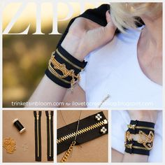 iLoveToCreate Blog: DIY Zipper Bracelet With Chains