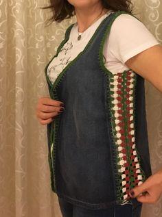 Crochet Waistcoat, Crochet Jacket, Crochet Blouse, Crochet Fabric, Knit Crochet, Crochet Clothes, Diy Clothes, Rainbow Crochet, Shirt Refashion