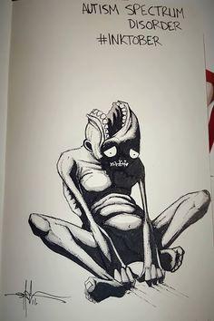 Artist Sketches Haunting Illustrations of Mental Illness & Emotional Disorders Every Day of October Creepy Drawings, Dark Art Drawings, Creepy Art, Ink Drawings, Creepy Sketches, Emotional Disorders, Mental Disorders, Inktober, Arte Grunge