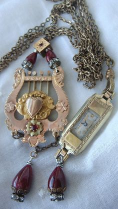 Vintage Double Wrap Lariat Downton Style Watch by CobwebPalace