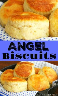 "Angel Biscuits are a yummy cross between a yeast roll and a buttermilk biscuit with a dough that results in biscuits as airy as ""angels wings. Homemade Biscuits, Buttermilk Biscuits, Yeast Biscuits, Yeast Bread, Homemade Yeast Rolls, Baking Biscuits, Canned Biscuits, Homemade Breads, Bread Recipes"